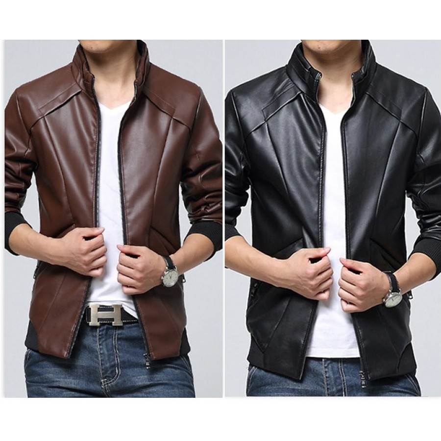 Artificial Leather Bomber Jacket For Men