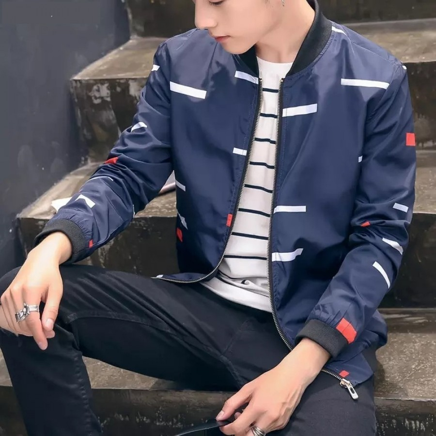 Bar Print Zipper Jacket For Men