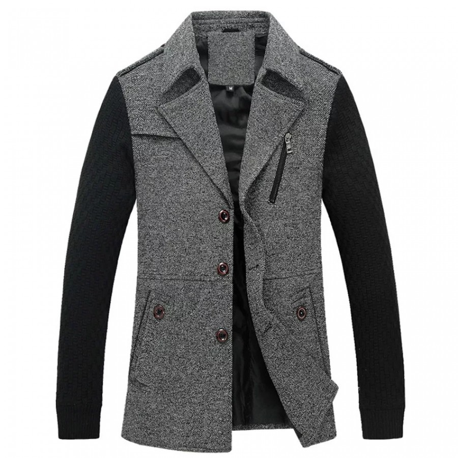 Contrast Sleeves Coat Style Jacket For Men