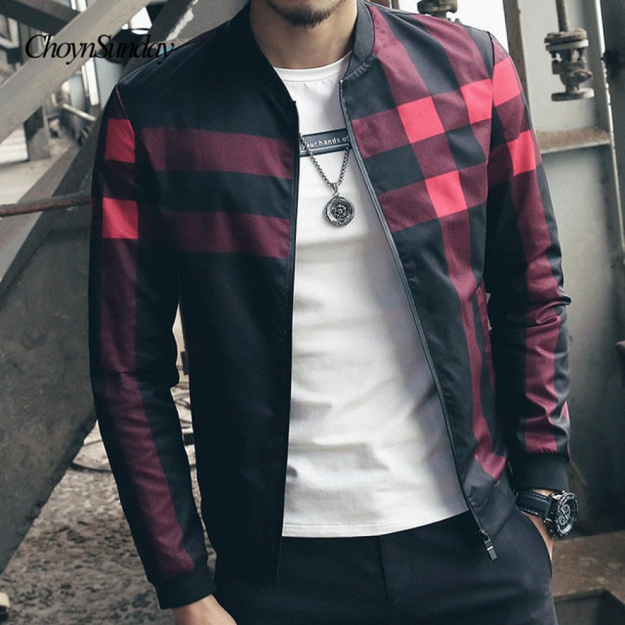 Checkered Fleece Zipper Jacket For Men