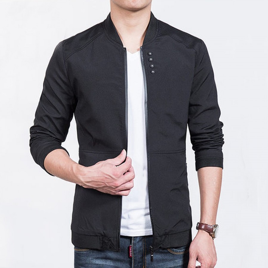 4 Button Zipper Fleece Jacket For Men