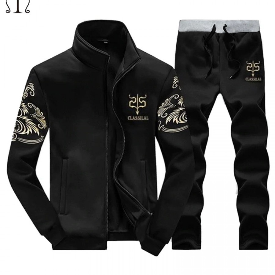 Black Stylish Men Track Suit - Design 19