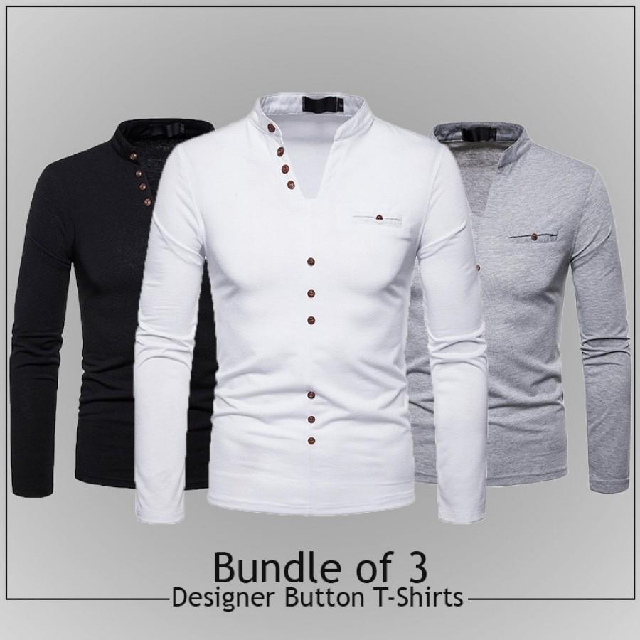 Bundle of 3 Designer Button T-shirts