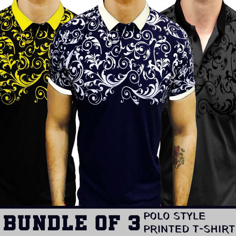 Bundle of 3 Polo Style Printed T-Shirt