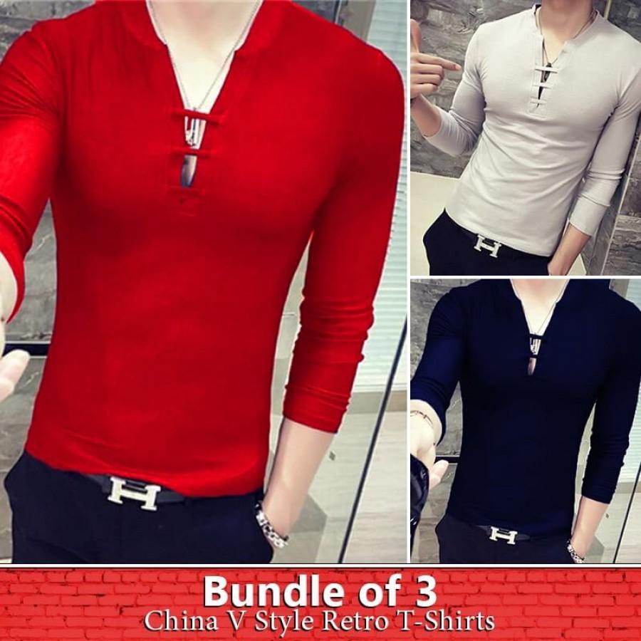 Bundle of 3 China V style retro t-shirts