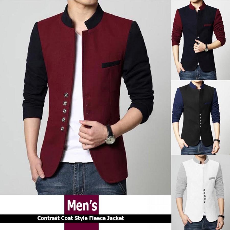 Mens Stylish Button Coat Style Fleece Jacket