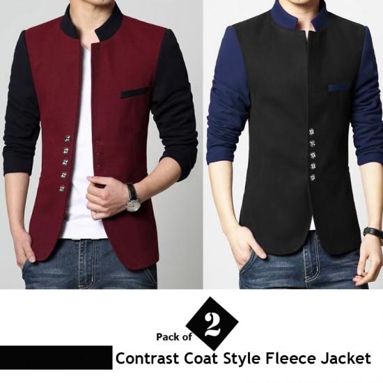 Pack of 2 Contrast Coat Style Fleece Jacket