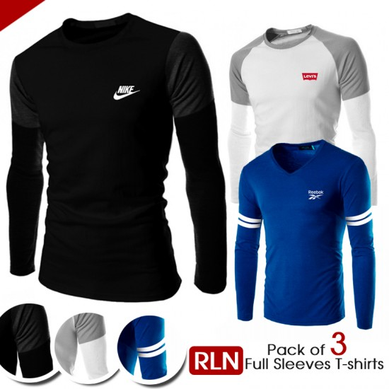 Pack of 3 RLN Full Sleeves T-shirts