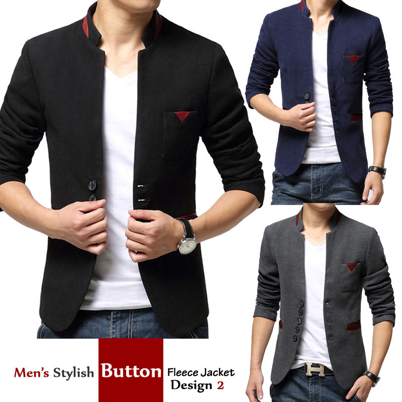Mens Stylish Button Fleece Jacket Design 2