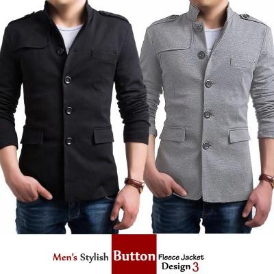 Mens Stylish Button Fleece Jacket Design 3