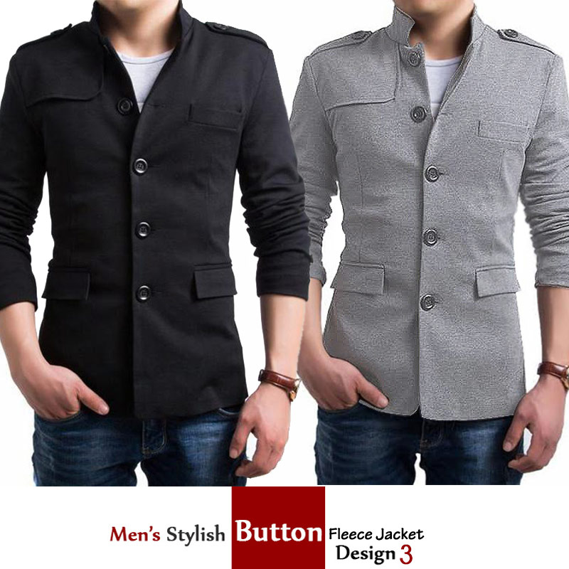 Mens Stylish Button Fleece Jacket Design 3