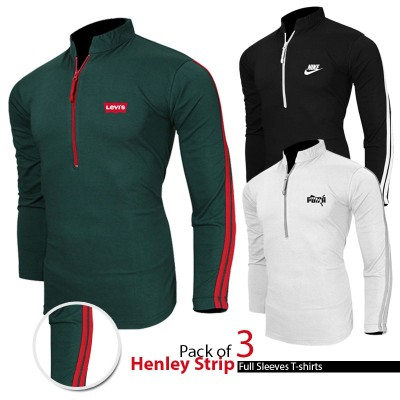 Pack of 3 Henley strips full sleeves T-shirts
