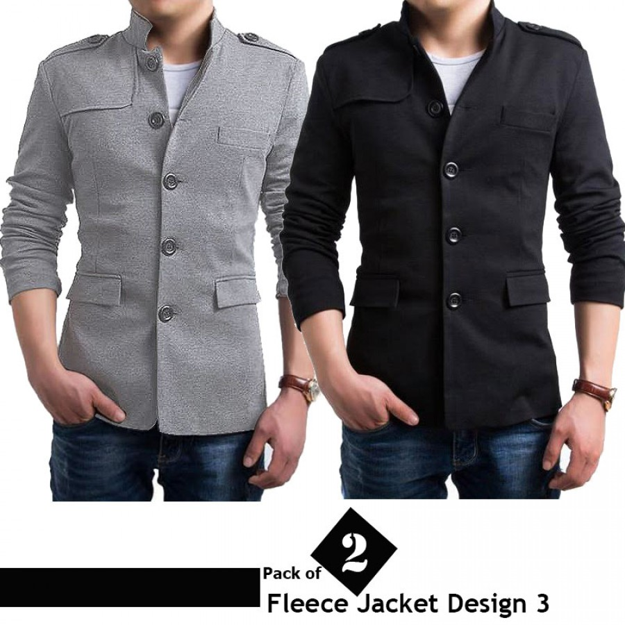 Pack of 2 Stylish Fleece Jackets (Design 3)