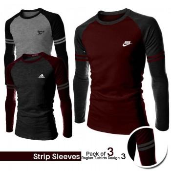 Pack Of 3 Strip Sleeves Raglan T Shirts Design 3
