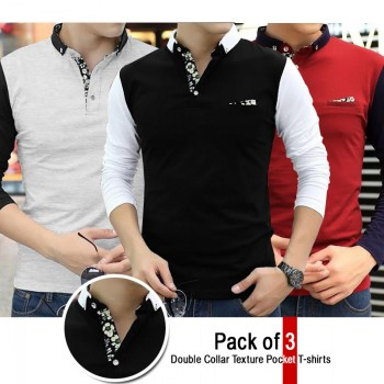 Pack Of 3 Double Collar Texture Pocket T Shirts