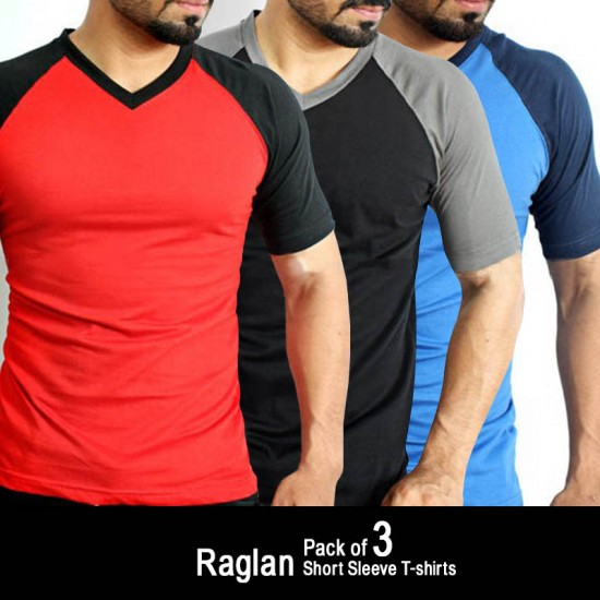 Pack of 3 Raglan Short Sleeve T-shirts