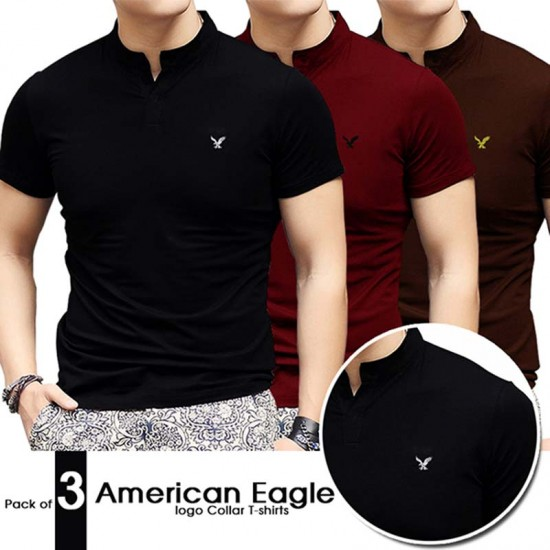 Pack of 3 American Eagle Logo Collar T-shirts
