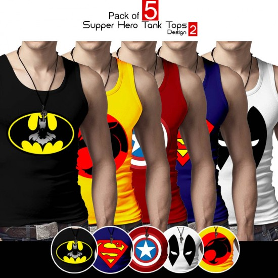 Pack of 5 Super Hero Tank Top Design 2