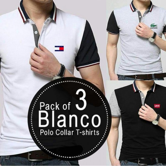 Pack of 3 Blanco Polo Collar T-shirts