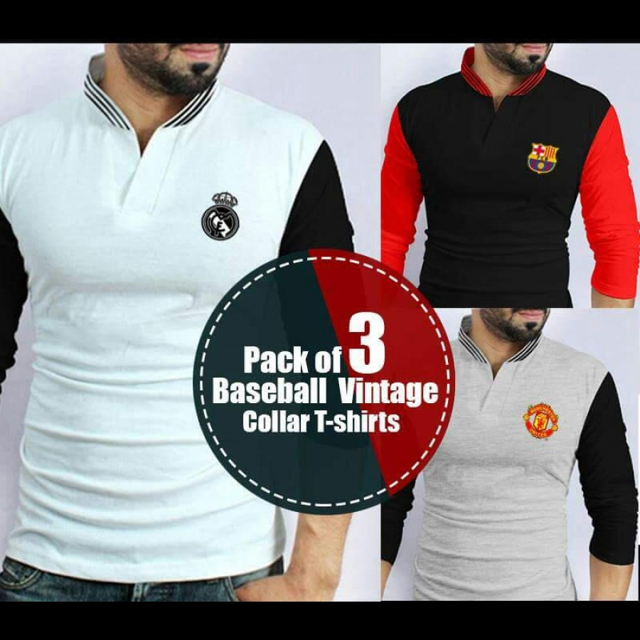 Pack of 3 Baseball Vintage Collar branded T-shirts