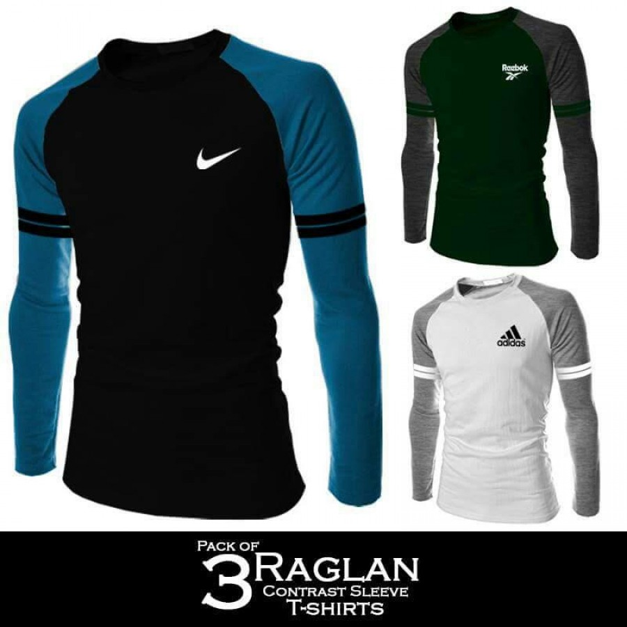 Pack of 3 Raglan Contrast Sleeve T-shirts