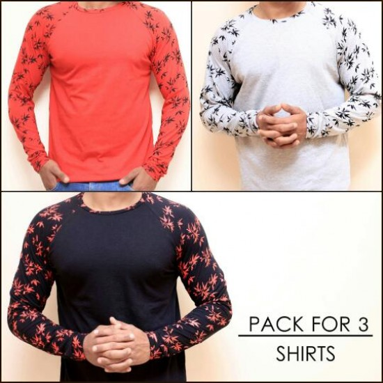 Pack of 3 Raglan Contrast T-shirts