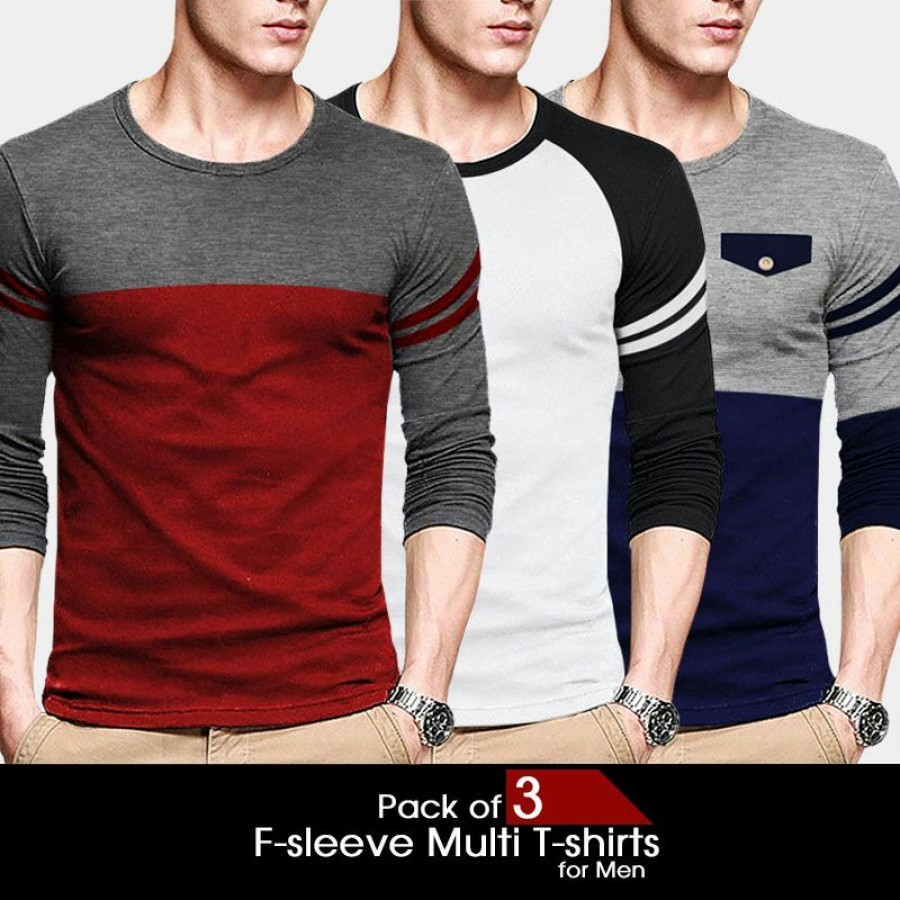 Pack of 3 F-sleeve Multi T-Shirt For Men
