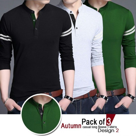 Pack of 3 Autumn Causal Long Sleeve T-Shirts Design 2