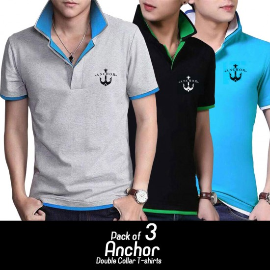 Pack of 3 Achor Double Collar Tshirt