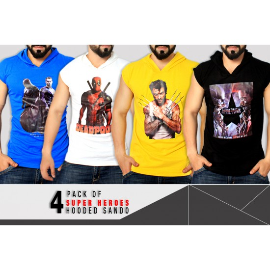 Pack Of 4 Super Heroes Hooded Stylish Sando