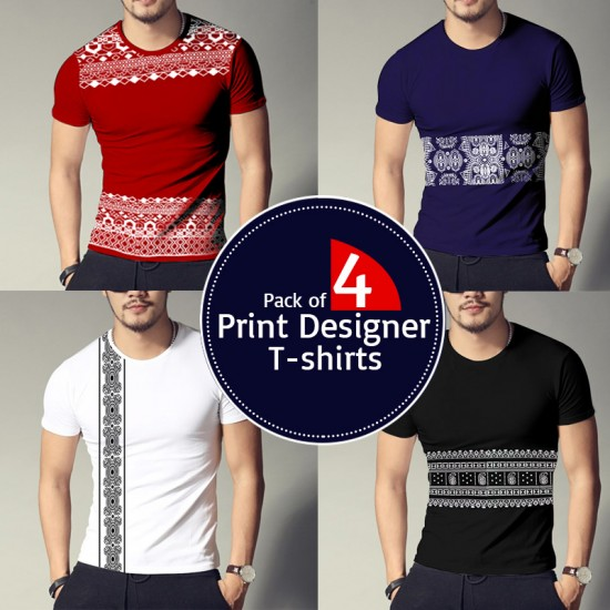Pack of 4 Print Designer T-shirts