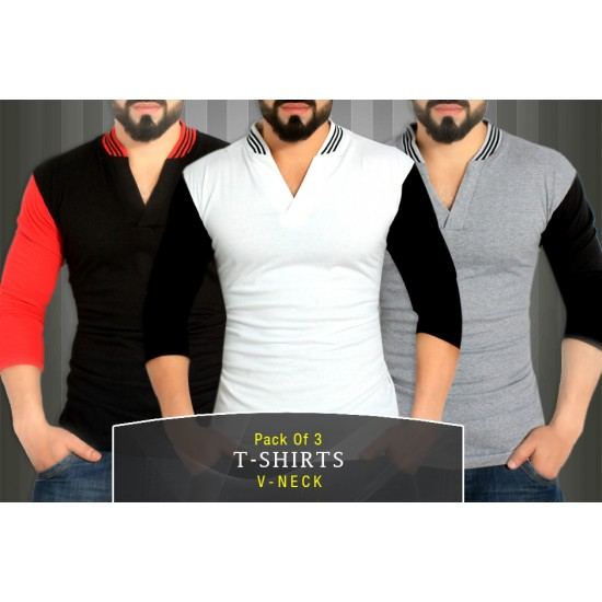 Pack Of 3 V-Neck Cool Summer Stylish T-Shirts