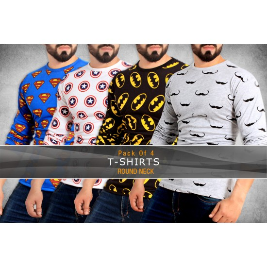Pack Of 4 Logo Stylish T-Shirts