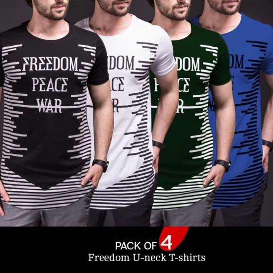 Pack of 4 Freedom U-neck T-shirts