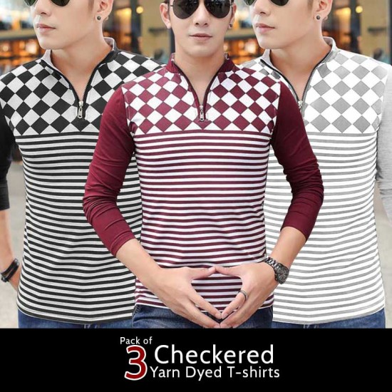 Pack of 3 Checkered Yarn Dyed T-shirts