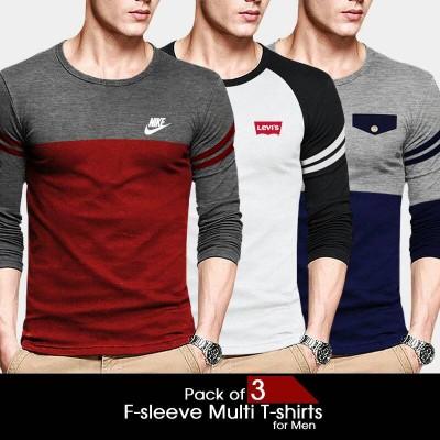 Pack of 3 F-sleeve Multi Branded T-Shirt For Men