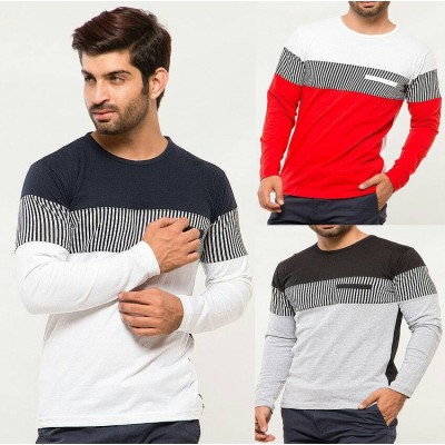 Pack of 3 Chest Strip Round Neck T-Shirts