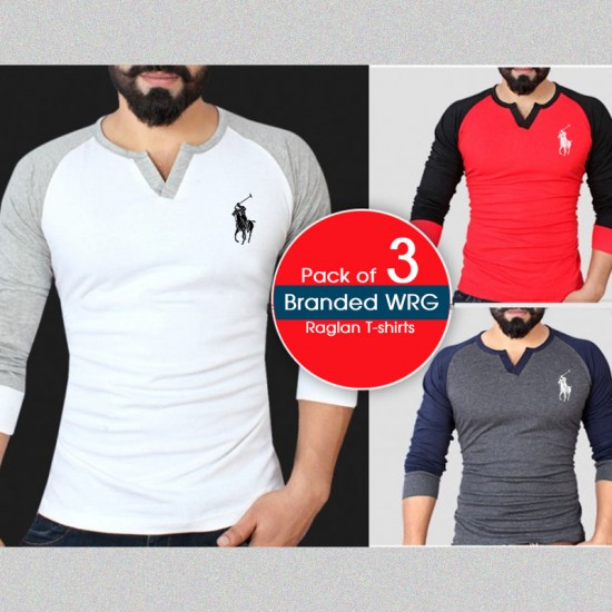 Pack of 3 Branded Wrg Raglan T-shirts