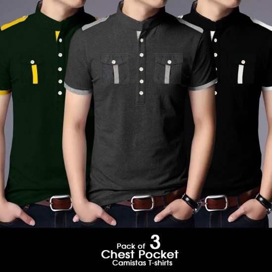 Pack of 3 Chest Pocket Camistas T-shirts