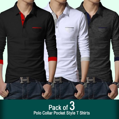Pack of 3 Polo Collar Pocket Style T-shirts