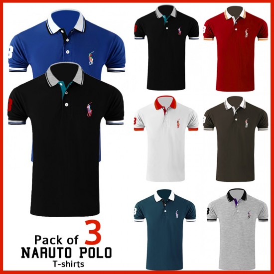 Pack of 3 Naruto Polo T-shirts - Azaadi Offer