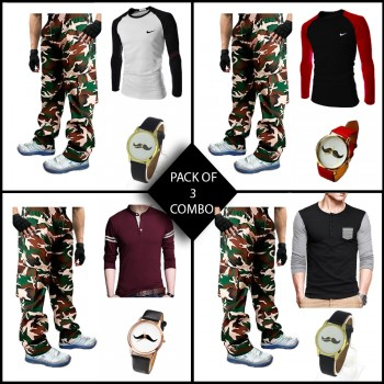 Combo of 3 ( 1 T-Shirt , 1 Watch , 1 Commando Trouser ) for Rs 999