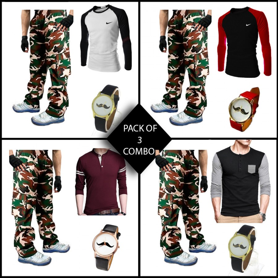 Combo of 3 ( 1 T-Shirt , 1 Watch , 1 Commando Trouser ) - Azaadi Offer
