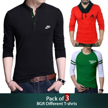 Pack of 3 ( Branded BGR Different T-shirts )