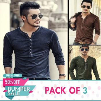 Pack of 3 Casual Long Sleeve Texture T-Shirts