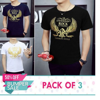 Pack of 3 Rock Fashion T-Shirts