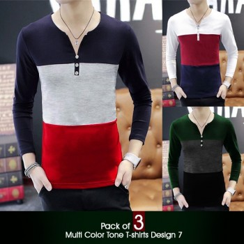 Pack of 3 Multi Color Tone T-Shirts (Design 7)