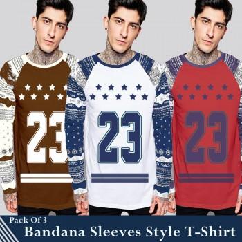 Pack of 3 Bandana Sleeves Style T-Shirt