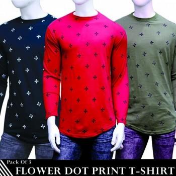 Pack of 3 Flower Dot Print T-Shirt