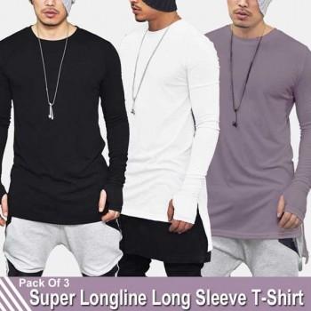 Pack of 3 Super LongLine Long Sleeve T-Shirt